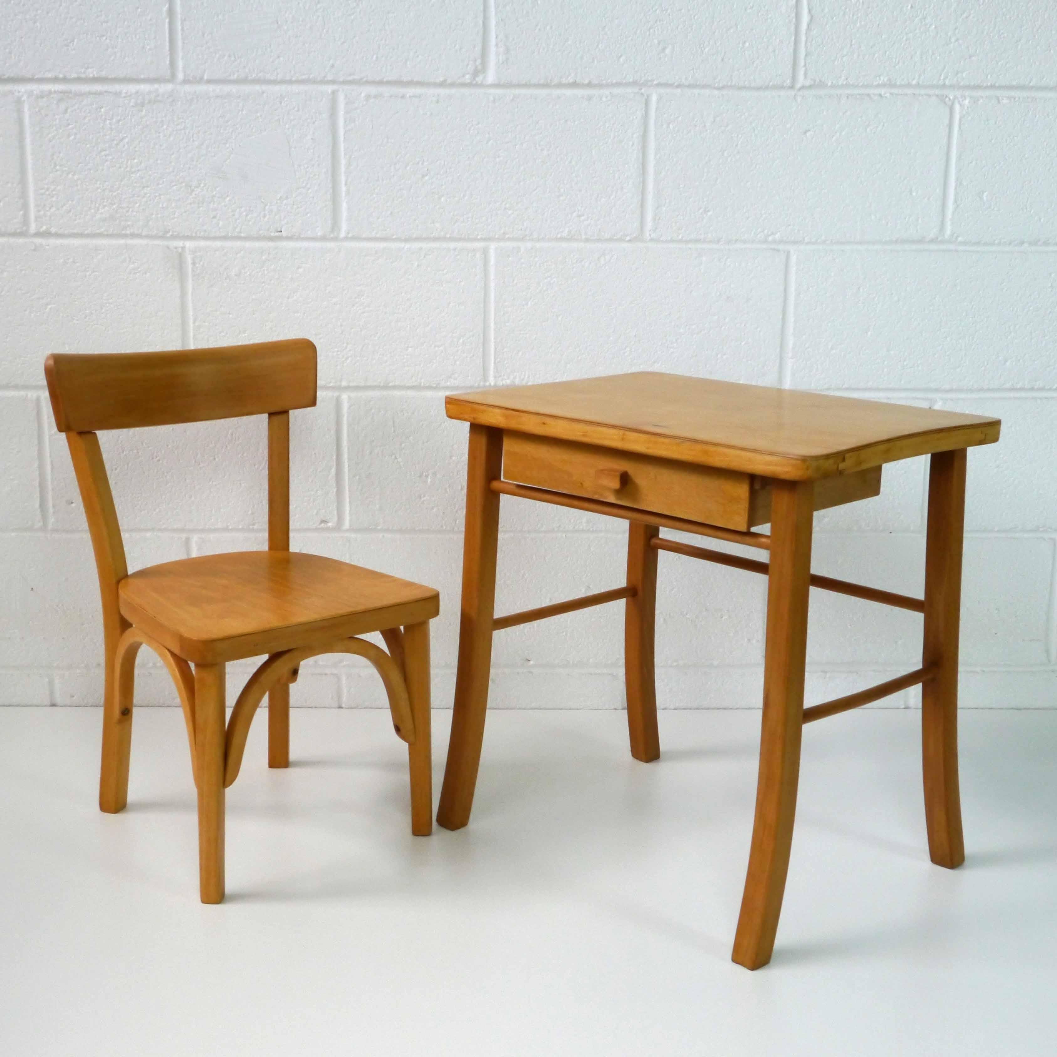 En Pour Verni Chaise Hêtre 1960 Enfant Bureau Baumann rBQCthdxs