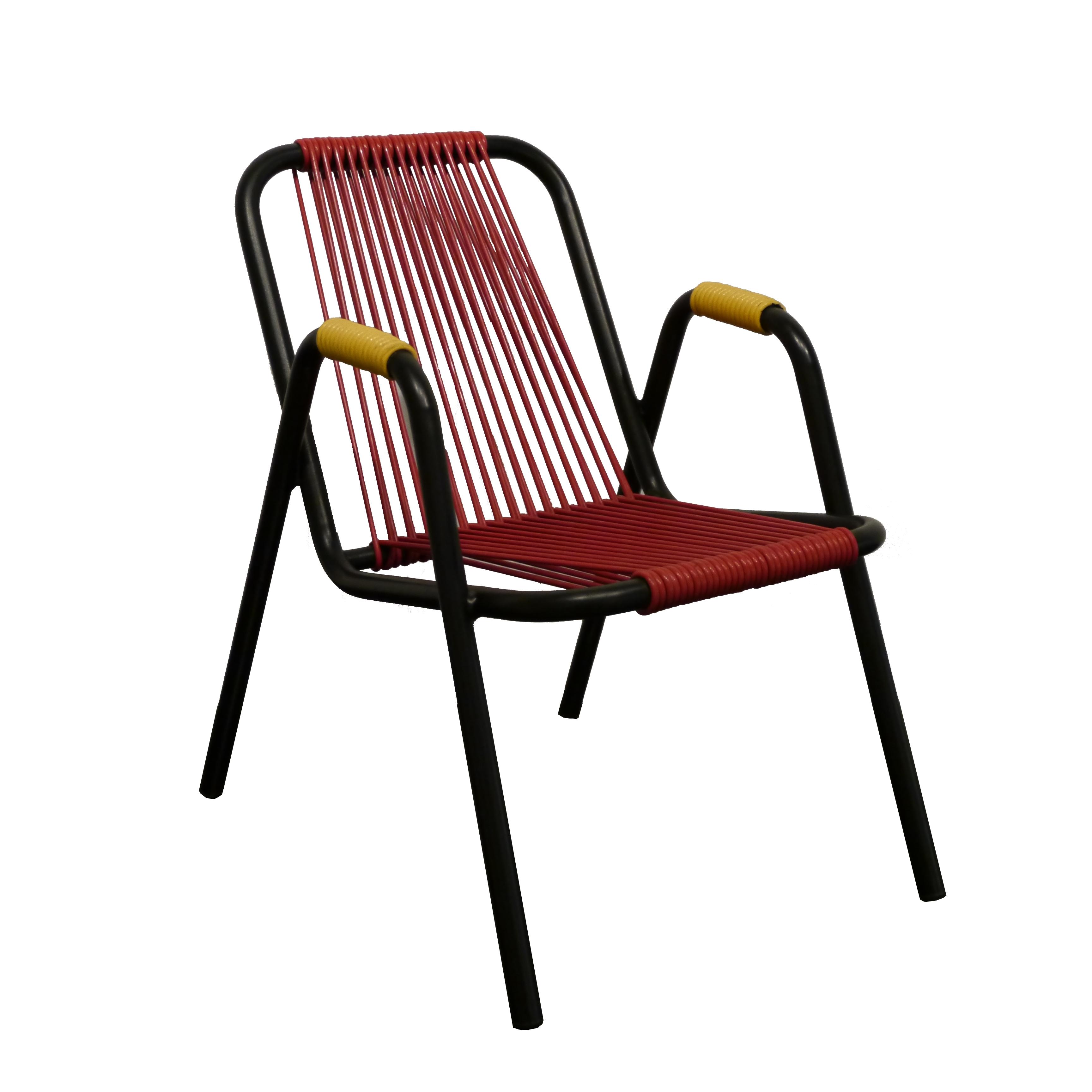 Fauteuil scoubidou pour enfant en acier et fil plastique - Chaise scoubidou vintage ...